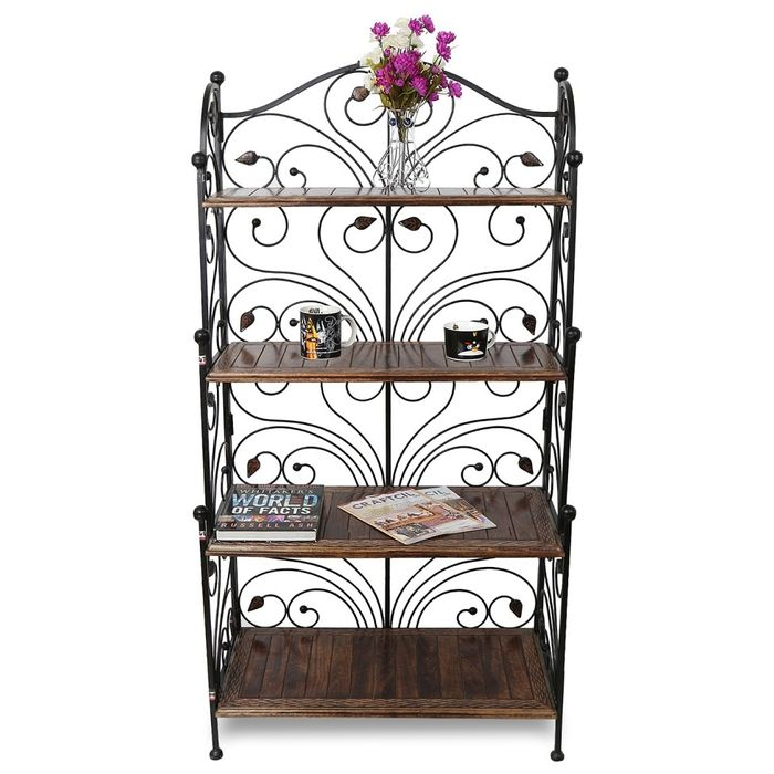 Onlineshoppee Wooden & Iron Fancy Design Foldable Book Shelf Rack With 4 Compartment Size(LxBxH-31x16x62) Inch