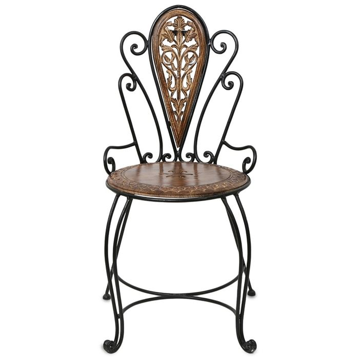 Onlineshoppee Wood & Iron Fancy Design   Chair Size(LxBxH-18x18x35) Inch