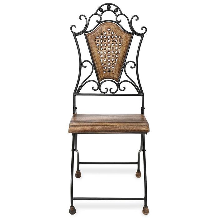 Onlineshoppee Home Decor Beautiful Design Wood & Iron Chair Size(LxBxH-17x17x38) Inch