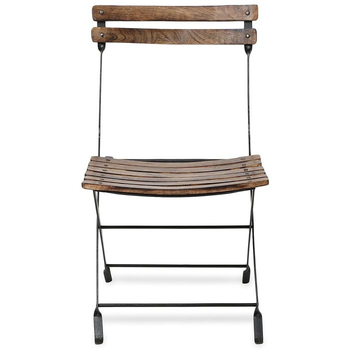 Onlineshoppee Home Decor Beautiful Design Wood & Iron Chair Size(LxBxH-16x16x28) Inch