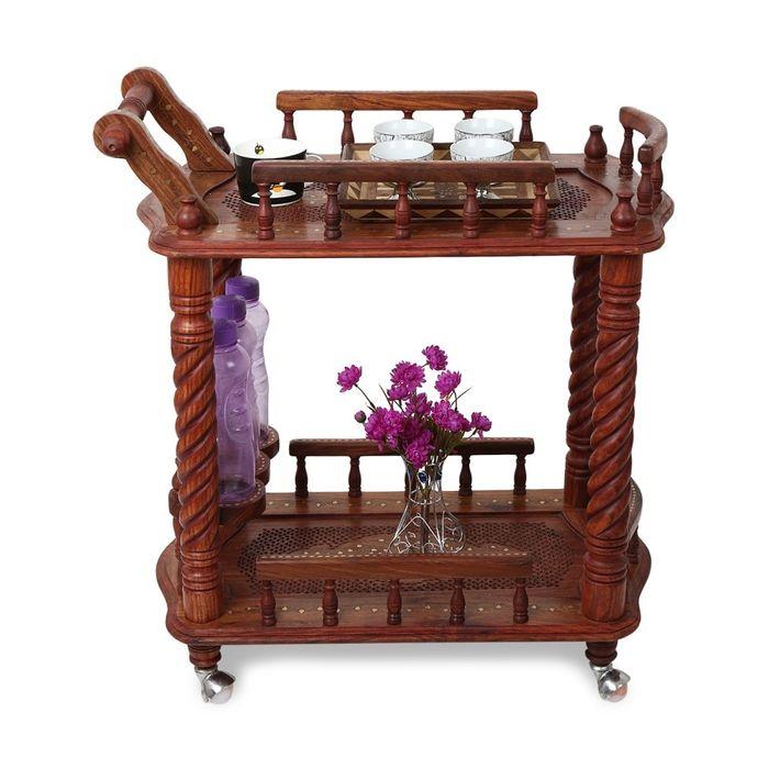 Onlineshoppee Wooden Serving Cart Kitchen Trolly Size(LxBxH-30x18x32) Inch