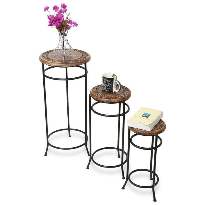 Onlineshoppee Home Decor Fancy Design Wood & Iron Table Set Of 3  Size(LxBxH-14x14x29) Inch