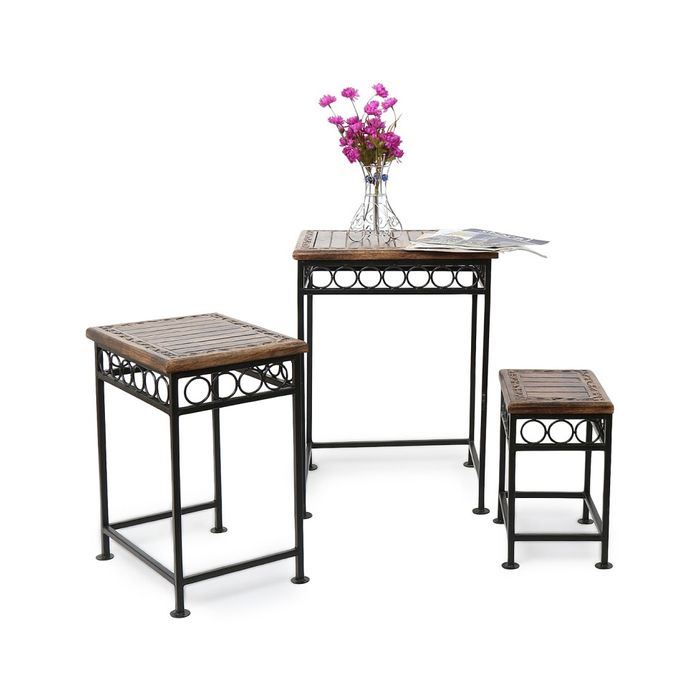 Onlineshoppee Home Decor Fancy Design Wood & Iron Table Set Of 3 Size(LxBxH-17x14x23.5) Inch