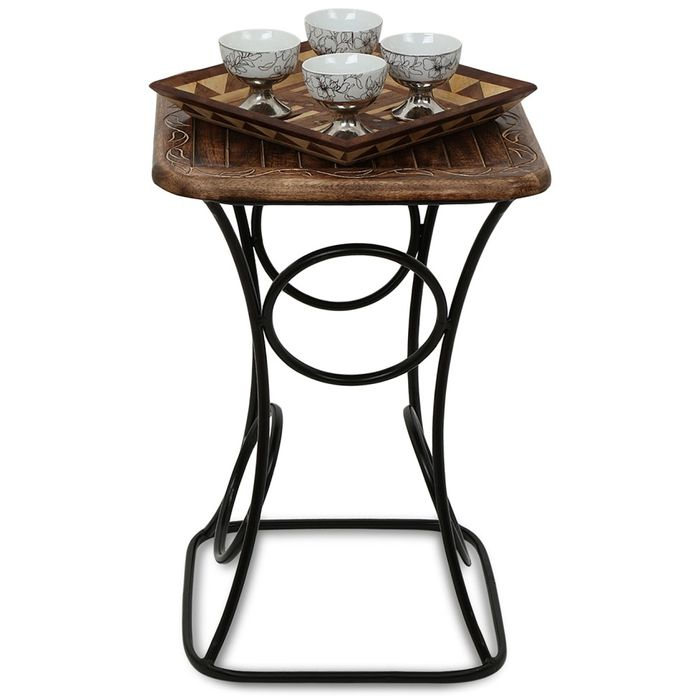 Onlineshoppee Home Decor Fancy Design Wood & Iron Table Size(LxBxH-16x16x23) Inch