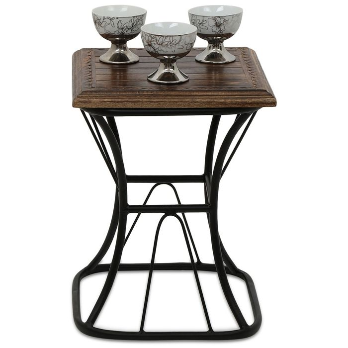 Onlineshoppee Wooden & Iron Home Decor Table