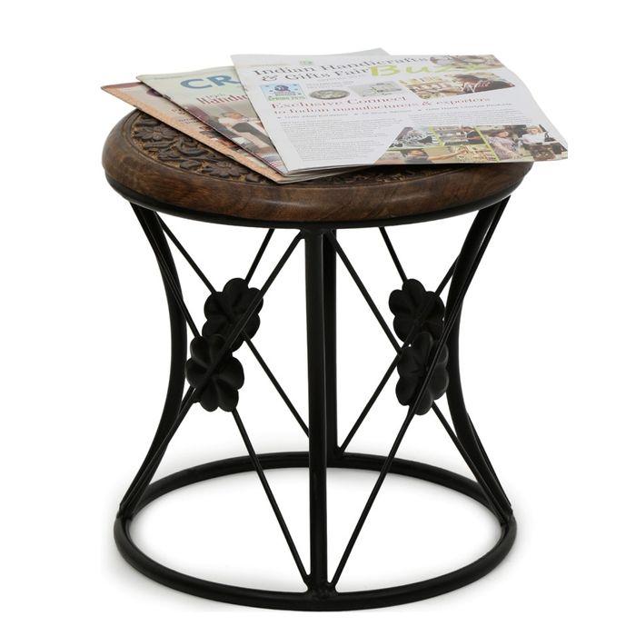 Onlineshoppee Wood & Iron Home Decor Design Table Size(LxBxH-13x13x13) Inch
