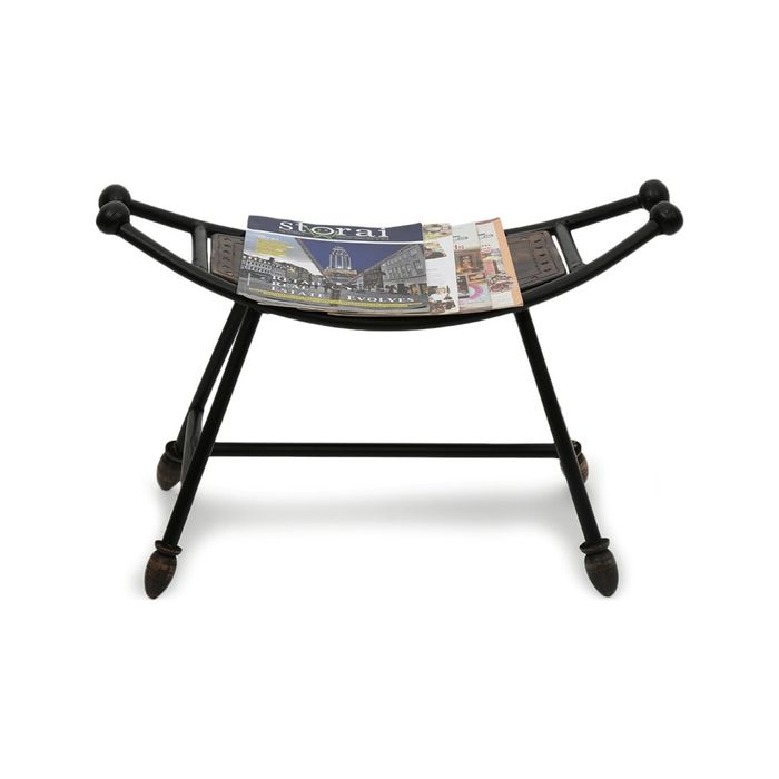 Onlineshoppee Boat Shaped Wooden & Iron Home Decor Stool/Table Size(LxBxH-25x10x18) Inch