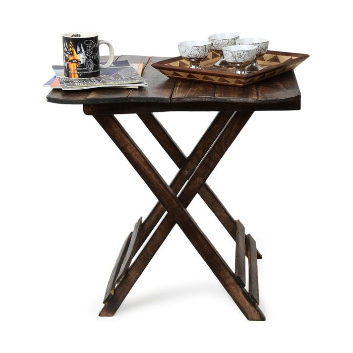 Onlineshoppee Wooden Deautiful Design Folding Table For Living Room Size(LxBxH-23.5x23x24.5) Inch
