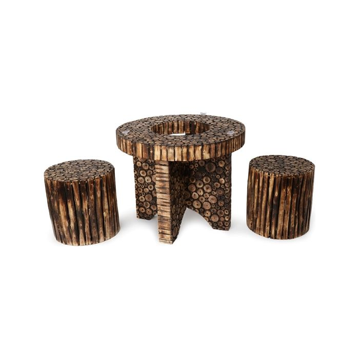 Onlineshoppee Wooden Antique Round Shaped Coffee Table With 2  Stool Size(LxBxH-30X30X24) Inch
