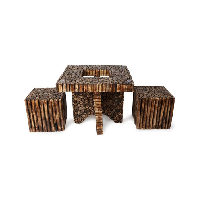 Onlineshoppee Wooden Antique Square Shaped Coffee Table With 2  Stool Size(LxBxH-30X30X24) Inch