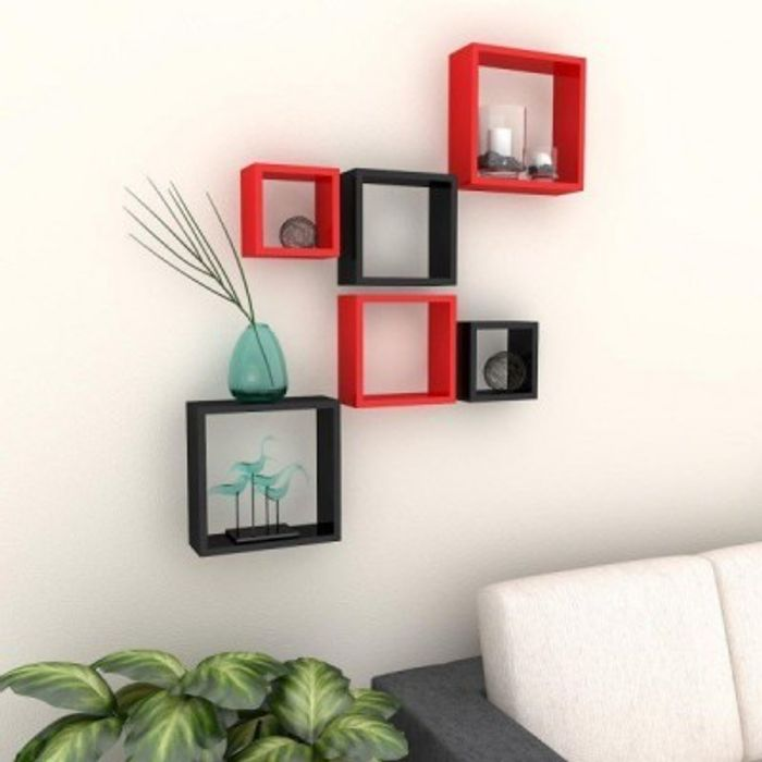 Onlineshoppee Home Decor Premium Solid Wood Shelf Rack Wall Bracket  handicraft design Size(LxBxH-11x4x11) Inch Color-Red/Black