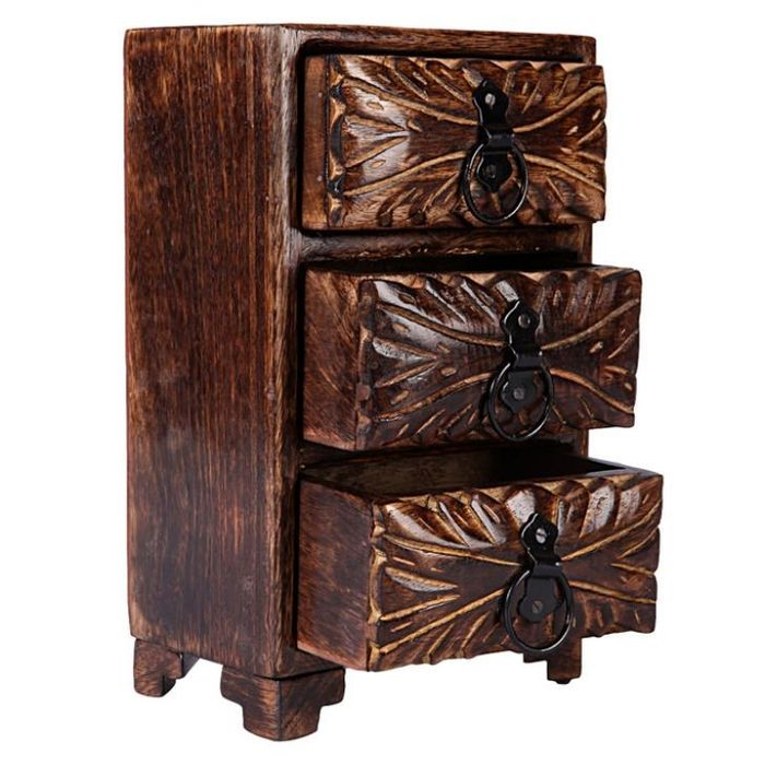 Onlineshoppee Wooden Box With 3 Drawers