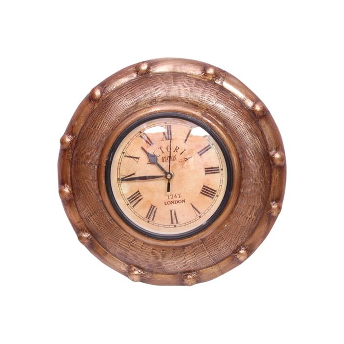 Onlineshoppee  Wooden With Matel Strip Antique Wall Hanging Clock Size(LxBxH-12x2x12) Inch