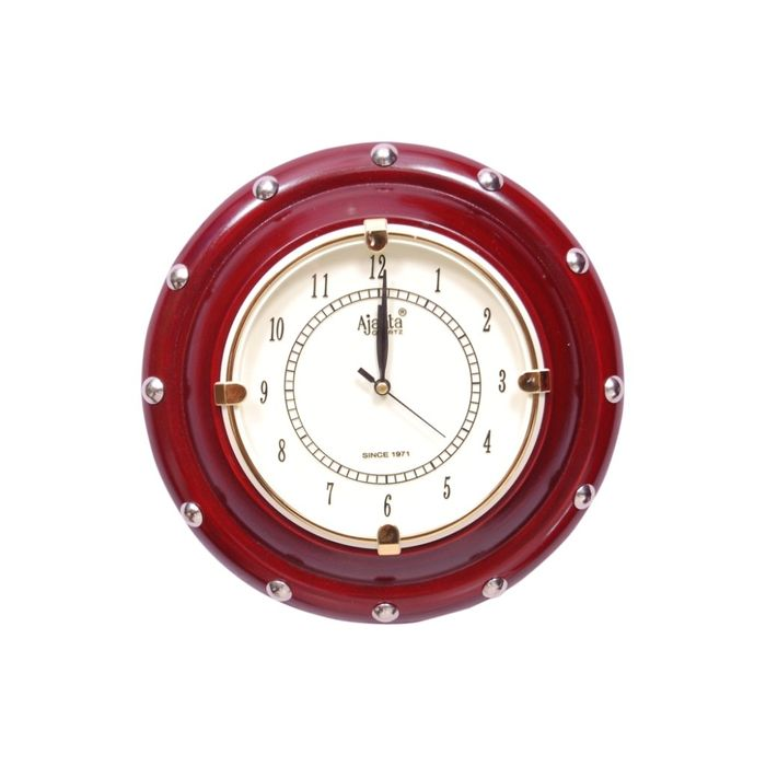 Onlineshoppee  Wooden Antique Wall Hanging Clock Size(LxBxH-11x1.5x11'') & Dial Size 6 Inch