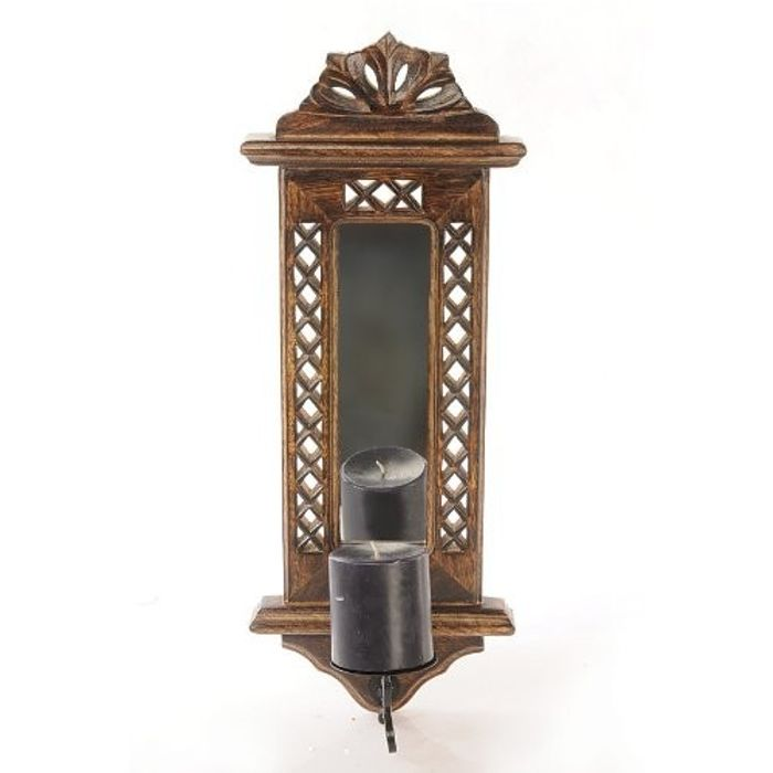 Wooden Hand Carved Wall Hanging Miror Reflection Candle Holder