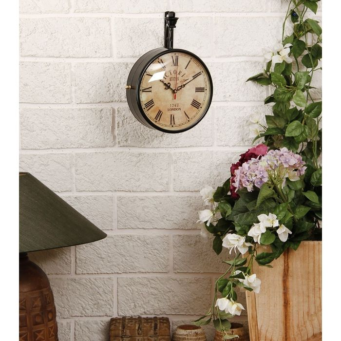 Onlineshoppee Wall Hanging Vintage Style Station Clock Double Sided