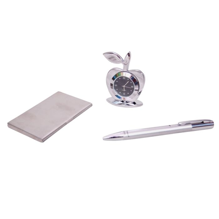 Onlineshoppee Table Decor Apple Shaped Clock Pen, Debit/Credit And Business Card Holder Set Of 3
