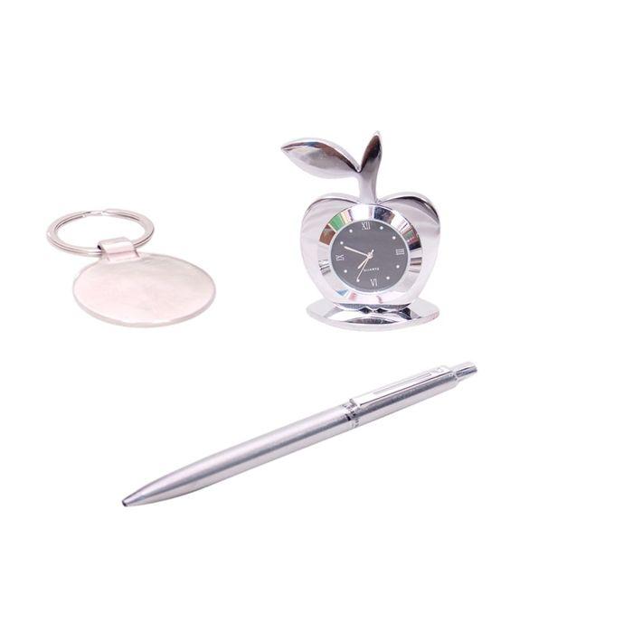 Onlineshoppee Table Decor Fancy Design Apple Shaped Clock, Pen &  Key Chain  Set Of 3