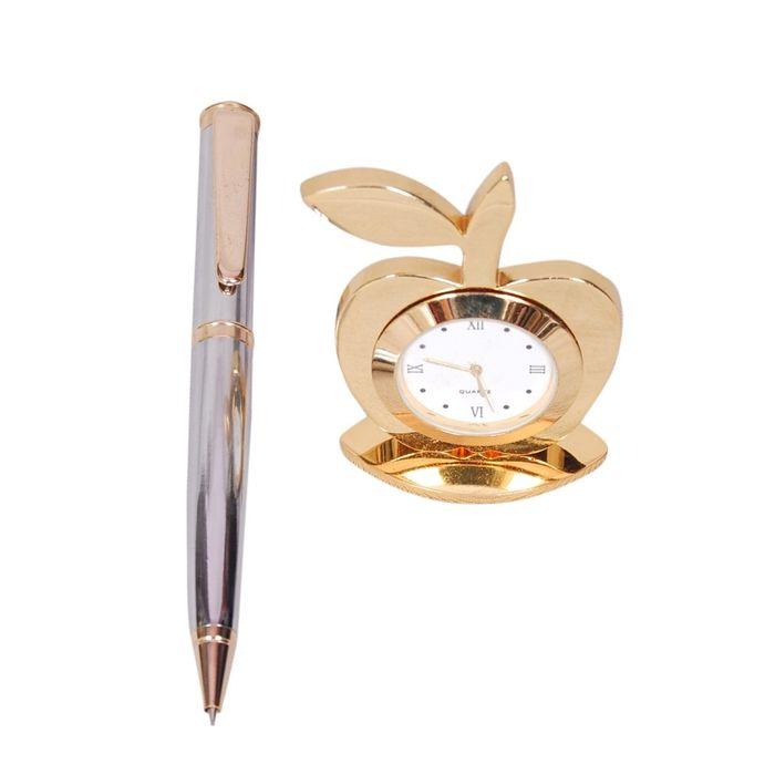 Onlineshoppee Table Decor Fancy Design Apple Shaped Clock & Pen Set Of 2 Size(LxBxH-2x1x3) Inch