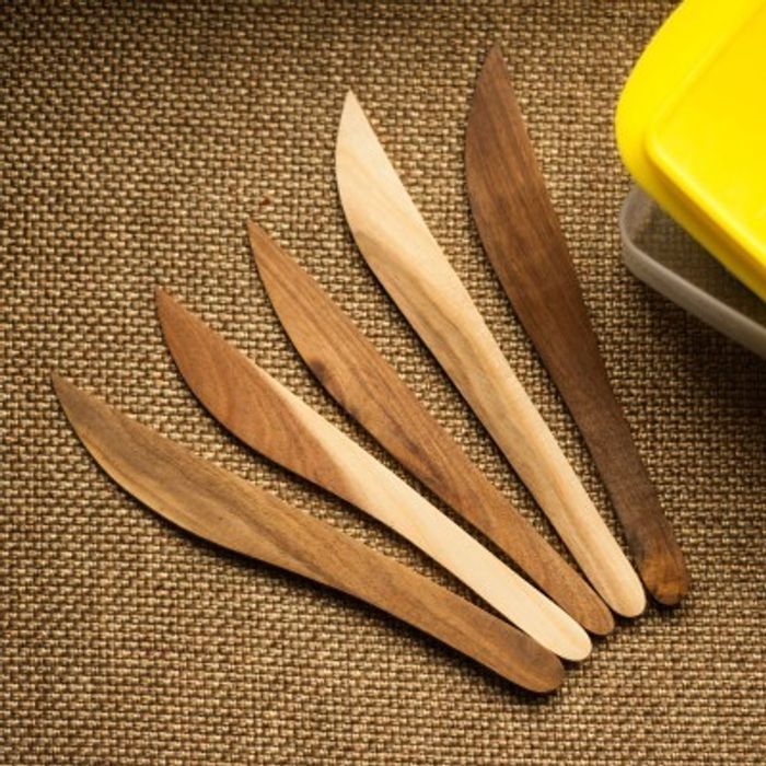 Onlineshoppee Fancy Design Kitchen Ware Elegant Wooden Fruit Knife Set of 5 Size(LxBxH-8.5x1.1x0.2) Inch