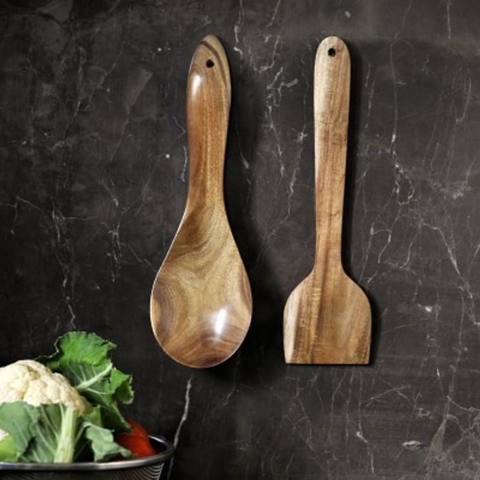Onlineshoppee Fancy Beautiful Design Handmade Serving Spatula Set of 2 In Natural Wooden Ladle Size(LxBxH-11.5x3.1x0.4) Inch