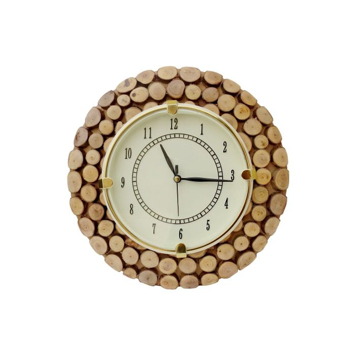 Onlineshoppee Fancy Wooden Wall Hanging Clock Watch, Size(LxBxH-11x1x11) Dail Size 7 Inch