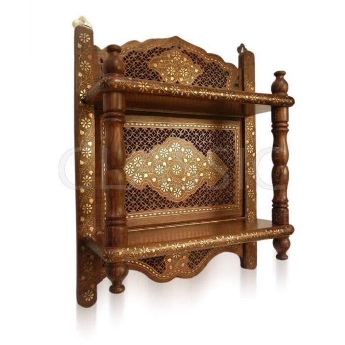 Onlineshoppee Wooden Wall Bracket Sheesham Wood Double Shelf Mandir Temple Shelves Size(LxBxH-17x6x21) Inch
