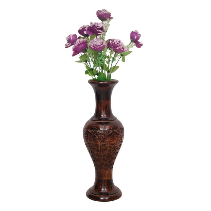 Onlineshoppee Wooden Hand Carving Work Flower Vase Size (LxBxH-6x6x17) Inch