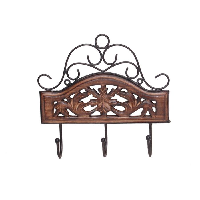 Onlineshoppee Wooden & Iron Fancy Design Wall Hanging Cloth Hanger With 3 Hooks Size(LxBxH-11x1x10) Inch