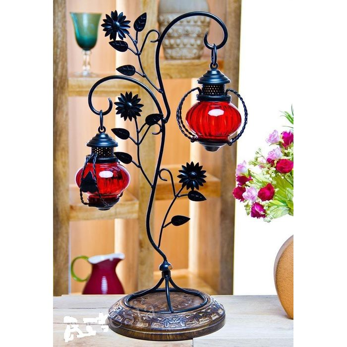 """Onlineshoppee Attractive Glass with Metal Red Colored Leaf Design candle Stand (11""""x8""""x22"""")"""