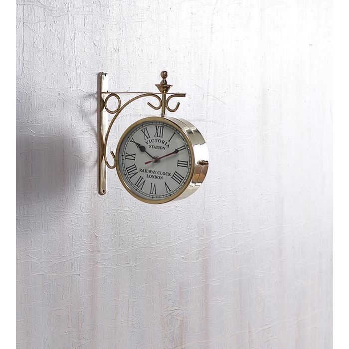 Onlineshoppee Pure Brass  Wall Hanging Vintage Style Station Clock Double Sided