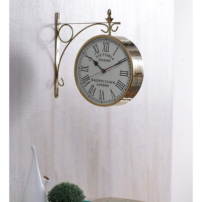 Onlineshoppee Pure Brass  Wall Hanging Vintage Style Station Clock Double Sided  Size(LxBxH-12x3x13) Inch