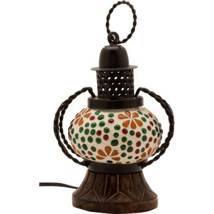 Onlineshoppee Wooden Portal Multicolor Glass Lantern