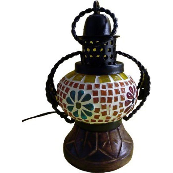 Onlineshoppee Wooden Portal Multicolor Glass Lantern Size(LxBxH-5x4x7) Inch
