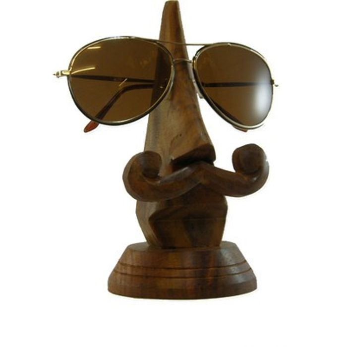 Onlineshoppee Handmade Wooden Nose Shaped Spectacle Holder Size (LxBxH-3x3x7) Inch