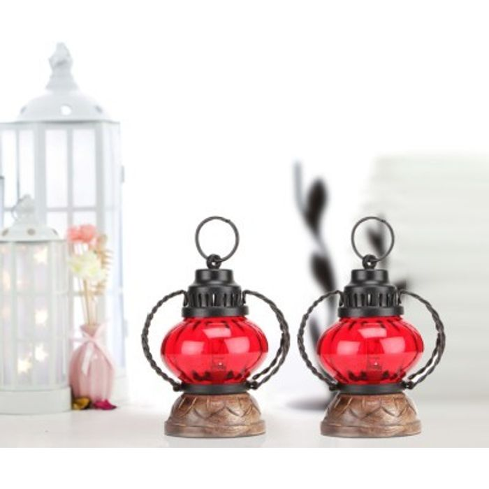 Onlineshoppee Red Wooden, Glass Lantern Size(LxBxH-5X5X7) Inch Pack Of 2
