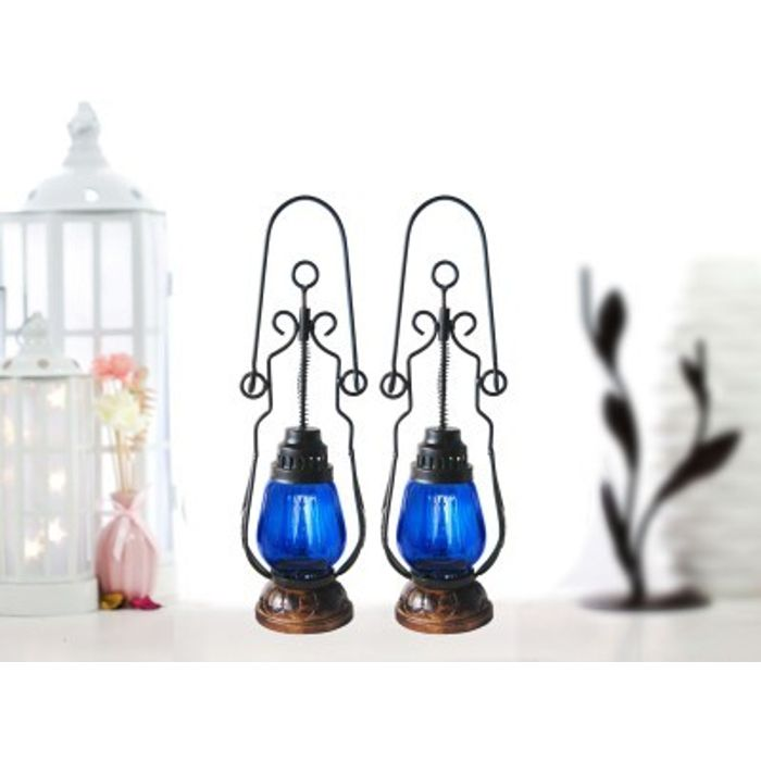 Onlineshoppee Blue Wooden, Glass Lantern Size(LxBxH-4.5x4.5x15.5) Inch Pack Of 2
