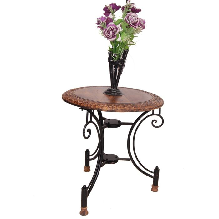 Onlineshoppee Wood & Iron cum Foldable End Table Size(LxBxH-18x18x18) Inch