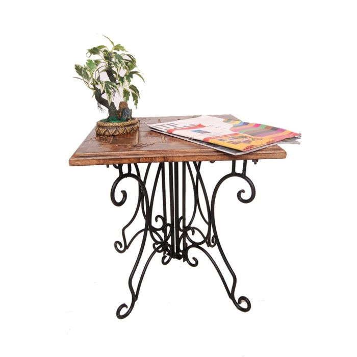 Onlineshoppee Wood & Iron cum Foldable End Table Size(LxBxH-16x16x16) Inch