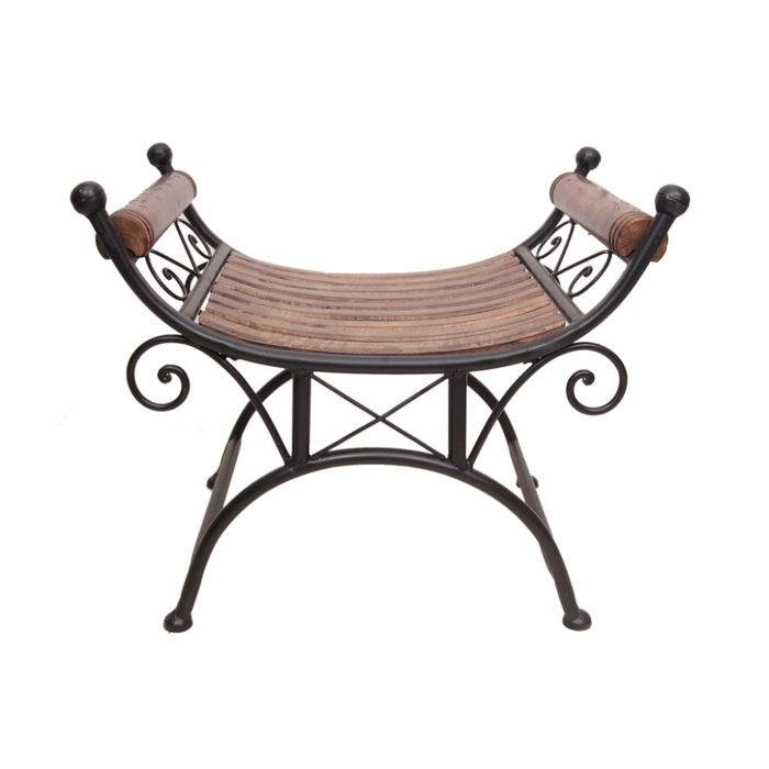 Onlineshoppee Wood & Iron cum End Table Size(LxBxH-27x18x23) Inch
