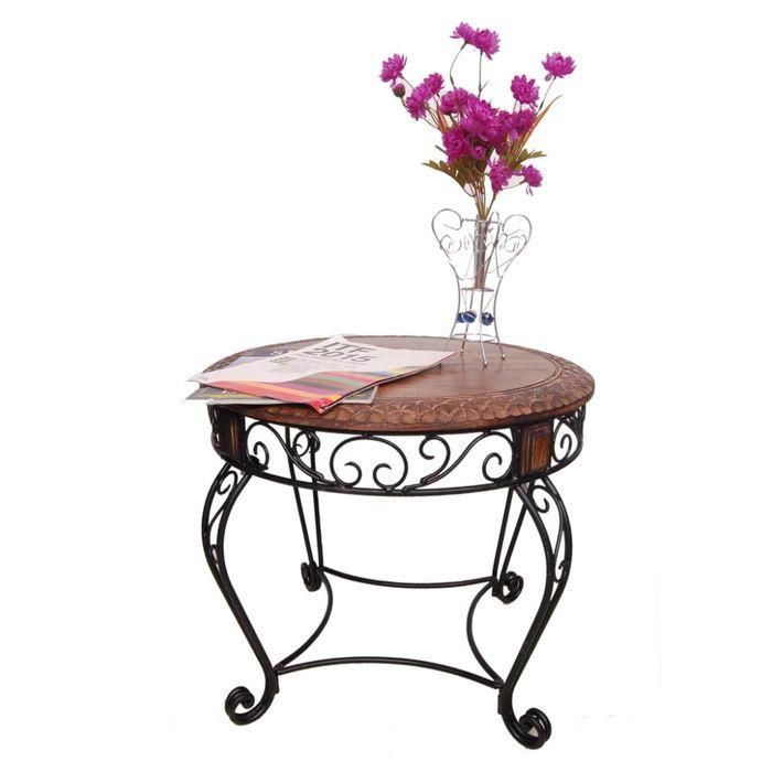 Onlineshoppee Wood & Iron cum End Table Size(LxBxH-20x20x17) Inch