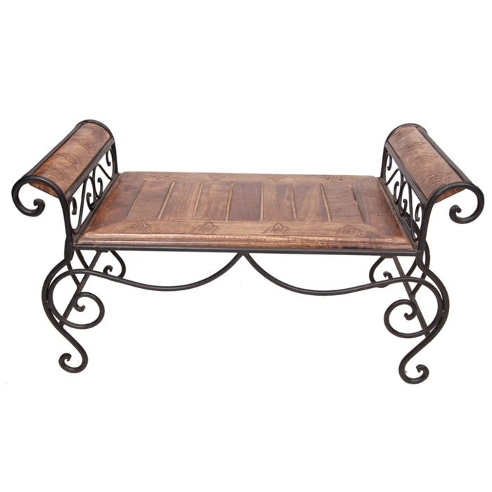 Onlineshoppee Wood & Wrought Iron Cum End/Coffee Table Size (LxBxH-28x14x14x) Inch