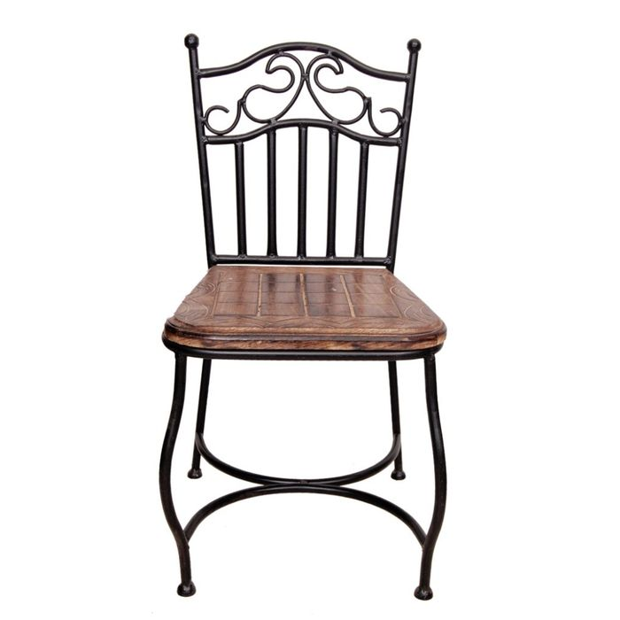 Onlineshoppee Beautiful Design Wooden & Wrought Iron Chair