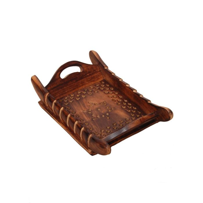 Onlineshoppee Handicrafts Designed Brown Tray Wood Carvings  Big-(11x7x2)Inch