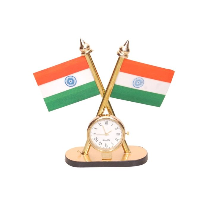 Onlineshoppee Brass Table Clock With Indian Flag Size (LxBxH-3x1x4.5) Inch