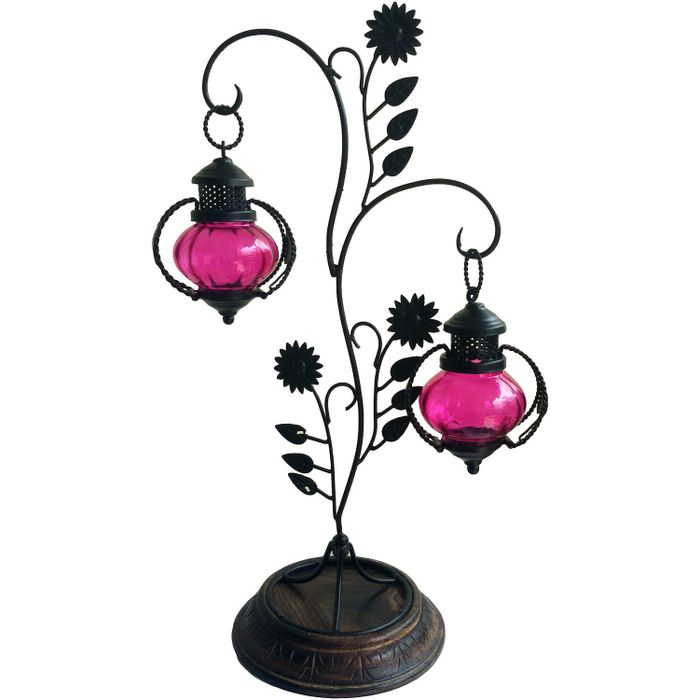 Onlineshoppee Double lantern Hanging Candle Holder With Stand  Color Pink