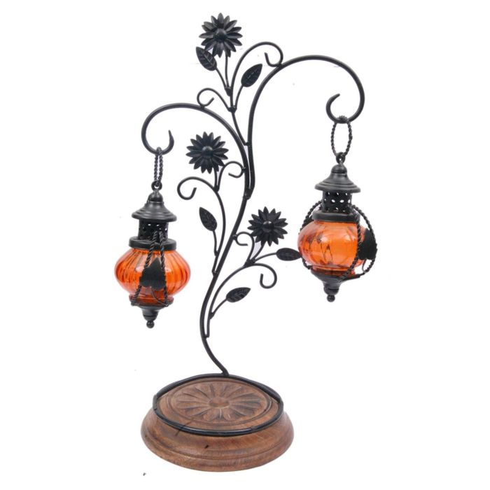 Onlineshoppee Double lantern Hanging Candle Holder With Stand Size (lxbxh-15 x 25 x 45) cm Color-Orange