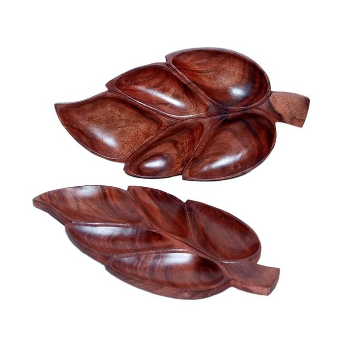 Onlineshoppee Wooden Handmade Leaf Design Dry Fruit Tray  Size-lxbxh13x7x1 inch Set Of 2