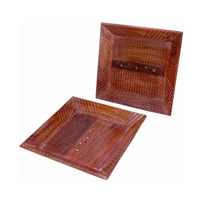Onlineshoppee Wooden Fancy Design Serving Tray  Set Of 2