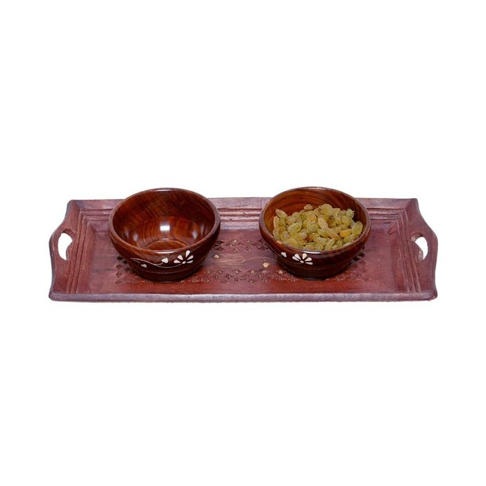 Onlineshoppee Wooden Handmade 2 Dry Fruit bowl  & 1 Serving Tray Size (lxbxh-15x6x1) Inch Set Of 3